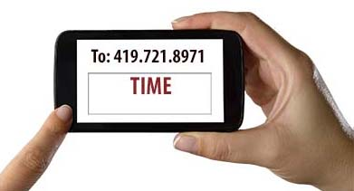 "Image of hands texting the word ""time"" to 419.721.8971"